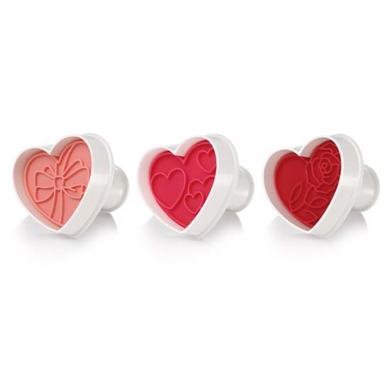 Udstikker form til småkager med hjerte og rose motiver